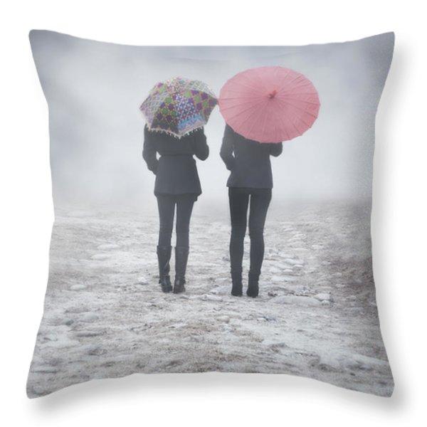 umbrellas in the mist Throw Pillow by Joana Kruse