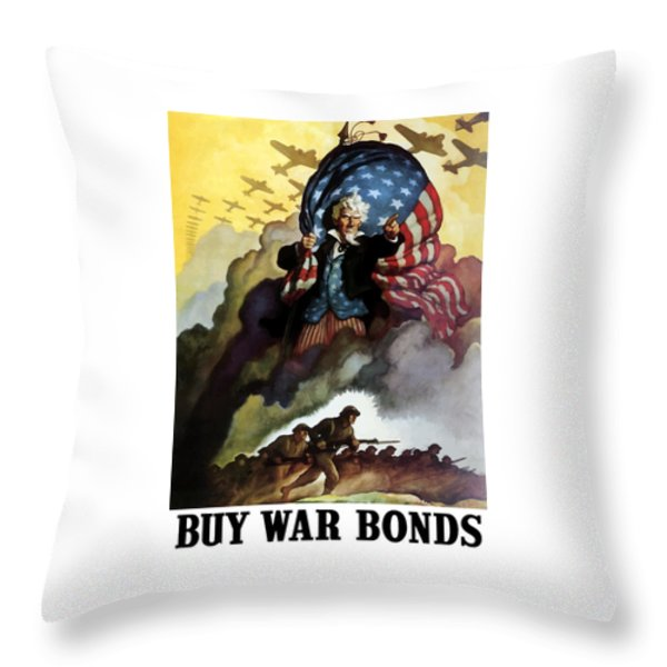 Uncle Sam Buy War Bonds Throw Pillow by War Is Hell Store