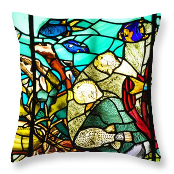 Under The Sea - Stained Glass Throw Pillow by Bill Cannon