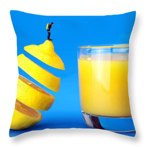 Underwater diving on a floating orange Throw Pillow by Paul Ge