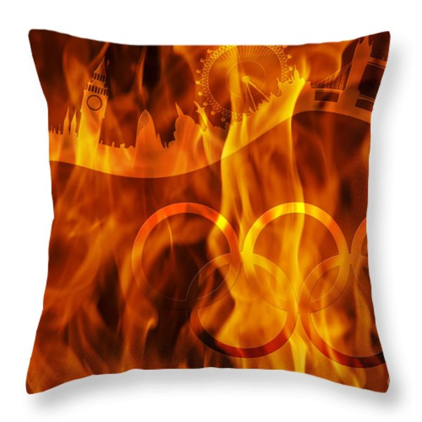 undying Olympic flame Throw Pillow by Michal Boubin