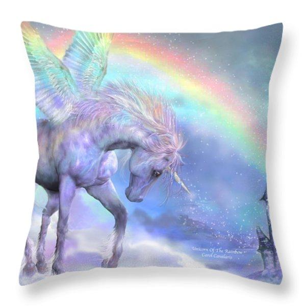 Unicorn Of The Rainbow Throw Pillow by Carol Cavalaris