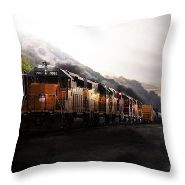 Union Pacific Locomotive At Sunrise . 7d10561 Throw Pillow by Wingsdomain Art and Photography