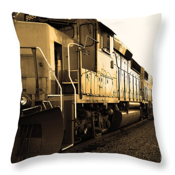 Union Pacific Locomotive Trains . 7d10588 . Sepia Throw Pillow by Wingsdomain Art and Photography