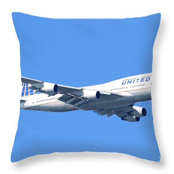 United Airlines Boeing 747 . 7D7850 Throw Pillow by Wingsdomain Art and Photography