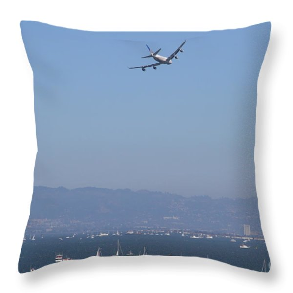 United Airlines Boeing 747 Over The San Francisco Bay At Fleet Week . 7D7860 Throw Pillow by Wingsdomain Art and Photography