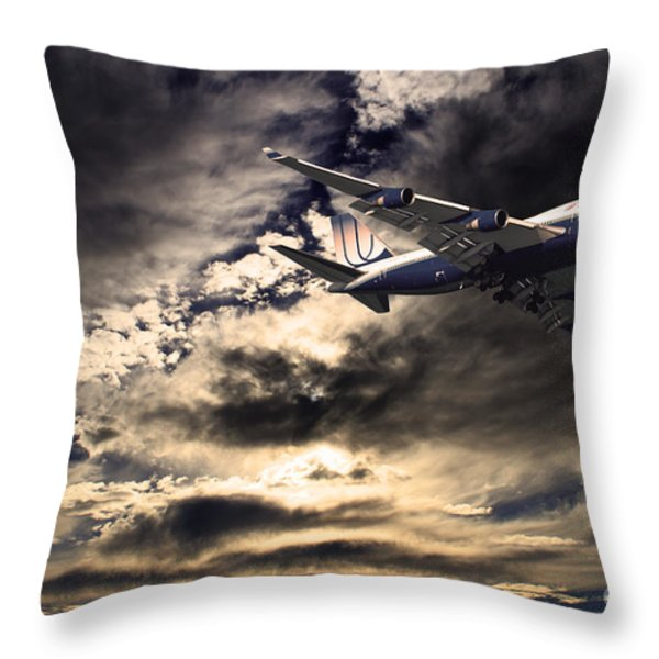 United Airlines . Flying The Friendly Skies Throw Pillow by Wingsdomain Art and Photography