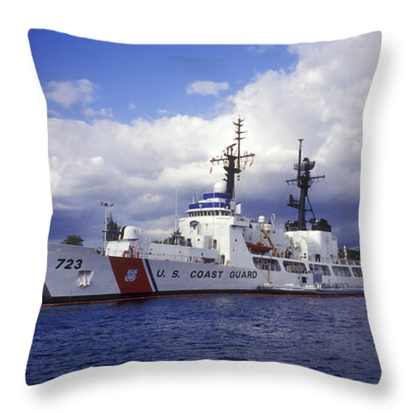 United States Coast Guard Cutter Rush Throw Pillow by Michael Wood