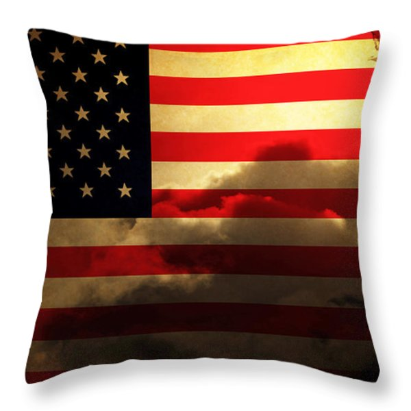 United States of America . Land of The Free Throw Pillow by Wingsdomain Art and Photography