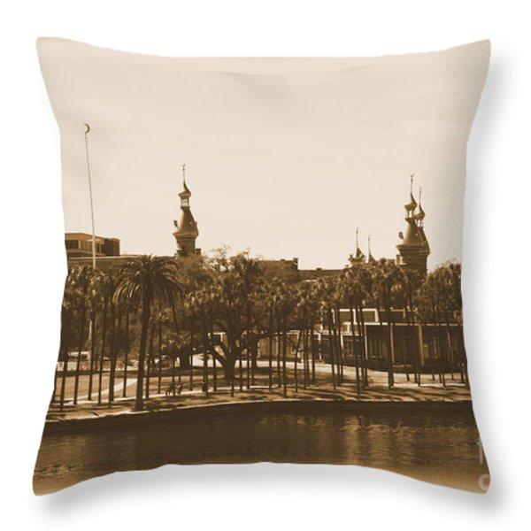 University Of Tampa - Old Postcard Framing Throw Pillow by Carol Groenen