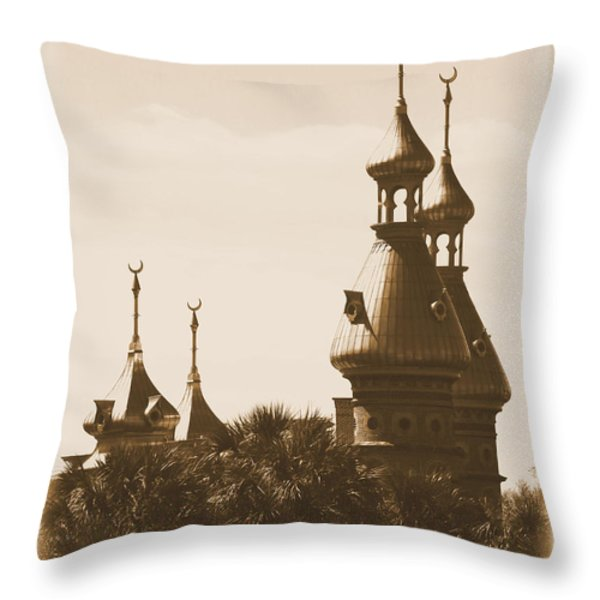 University Of Tampa Minarets With Old Postcard Framing Throw Pillow by Carol Groenen