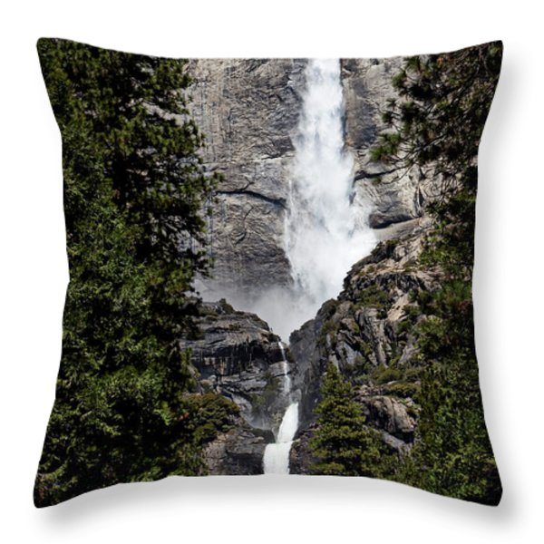 Upper And Lower Yosemite Falls Throw Pillow by Garry Gay
