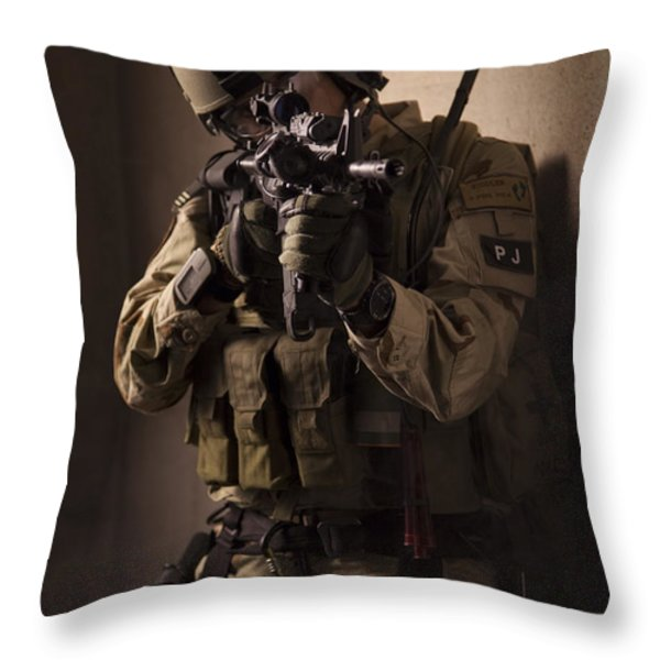 U.s. Air Force Csar Parajumper Armed Throw Pillow by Tom Weber