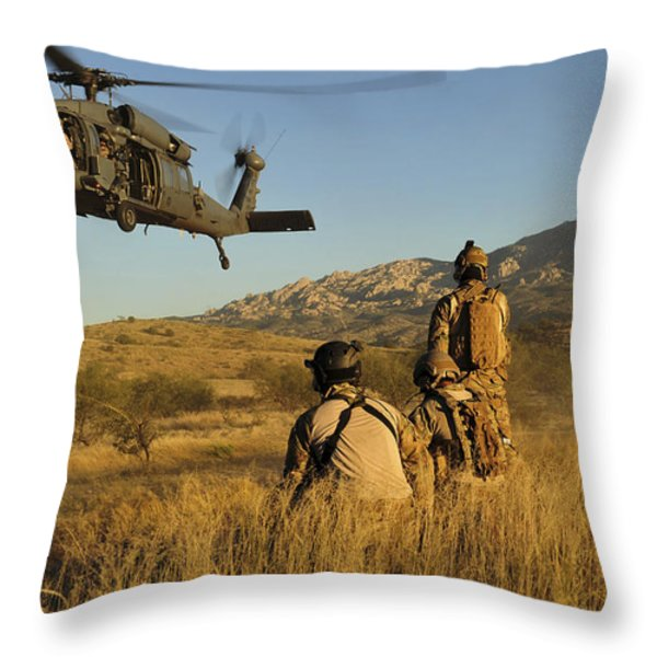 U.s. Air Force Pararescuemen Signal Throw Pillow by Stocktrek Images