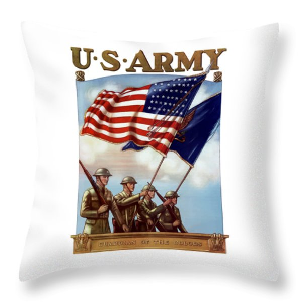 US Army -- Guardian Of The Colors Throw Pillow by War Is Hell Store
