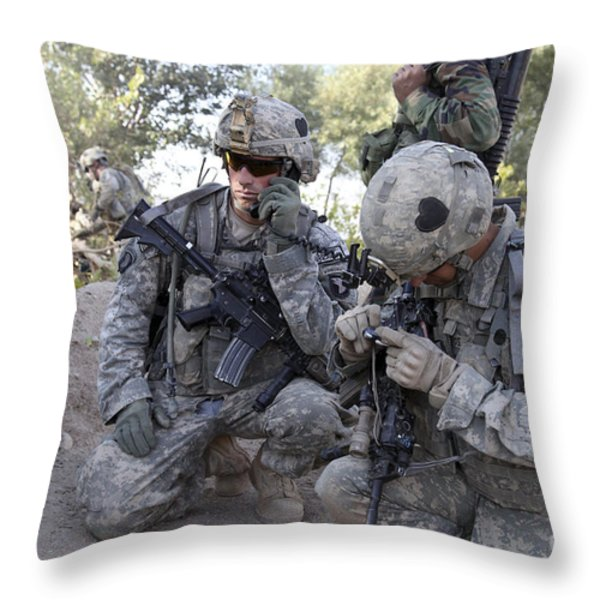 U.s. Army Soldier Radios In His Teams Throw Pillow by Stocktrek Images