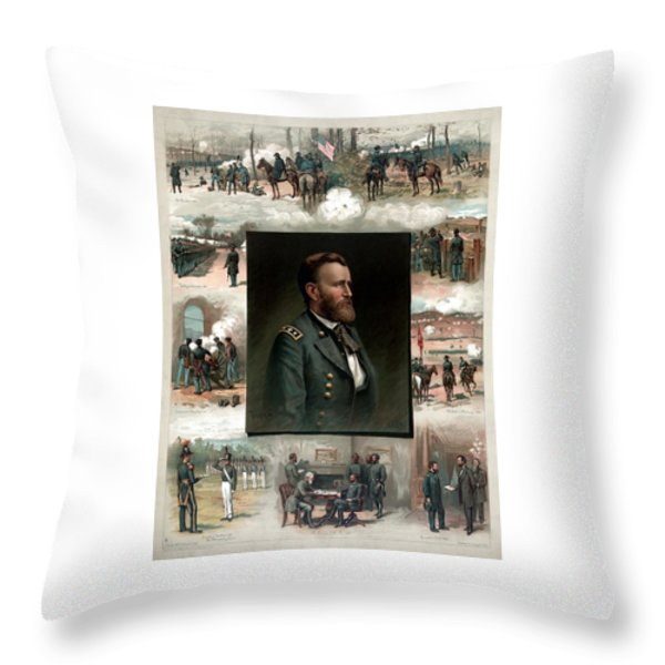 Us Grant's Career In Pictures Throw Pillow by War Is Hell Store