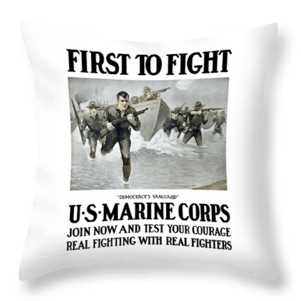 US Marine Corps - First To Fight  Throw Pillow by War Is Hell Store