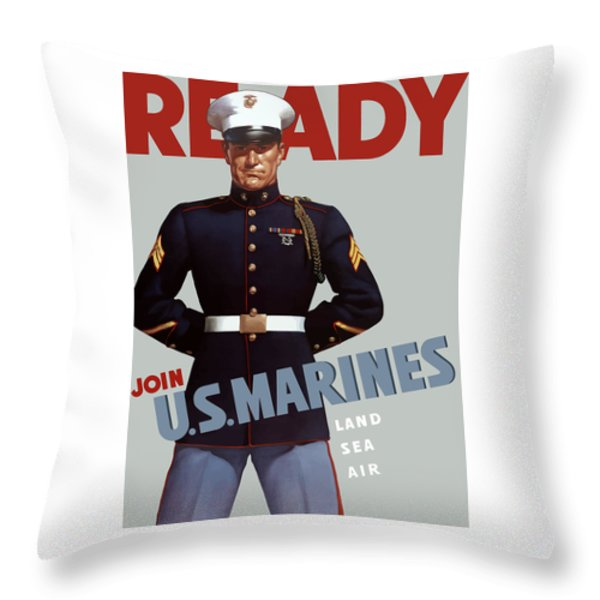 US Marines Ready Throw Pillow by War Is Hell Store