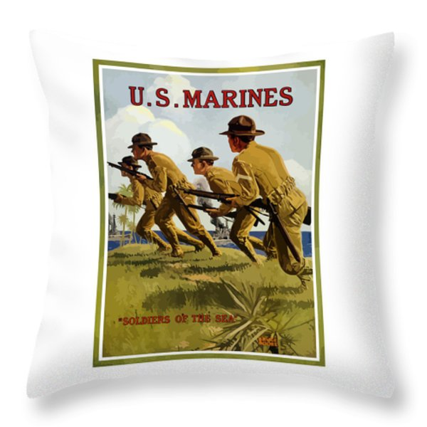 Us Marines - Soldiers Of The Sea Throw Pillow by War Is Hell Store