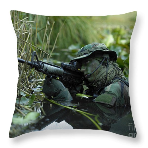 U.s. Navy Seal Crosses Through A Stream Throw Pillow by Tom Weber