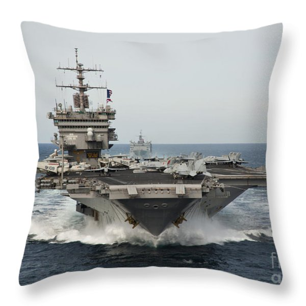 Uss Enterprise Transits The Atlantic Throw Pillow by Stocktrek Images