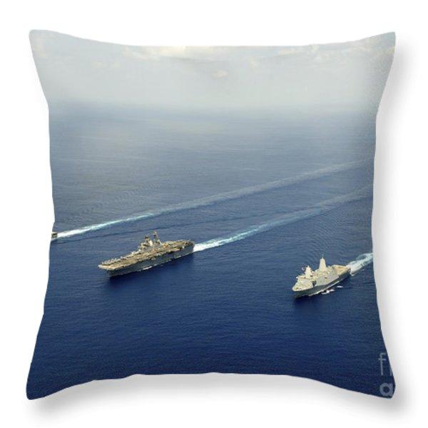 Uss Pearl Harbor, Uss Makin Island Throw Pillow by Stocktrek Images