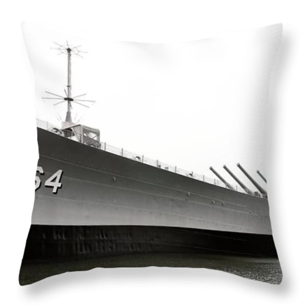 Uss Wisconsin - Port-side Throw Pillow by Christopher Holmes