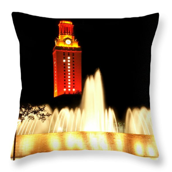 UT Tower Championship Win Throw Pillow by Marilyn Hunt