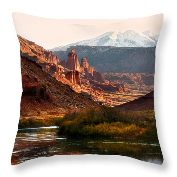 Utah Colorado River Throw Pillow by Marilyn Hunt