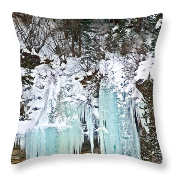Vail Ice Falls Throw Pillow by David Salter