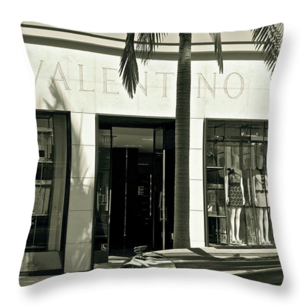 Valentino On Rodeo Drive Throw Pillow by Gwyn Newcombe