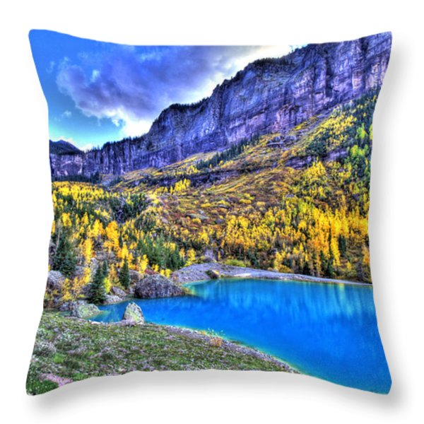 Valley Peak And Falls Throw Pillow by Scott Mahon