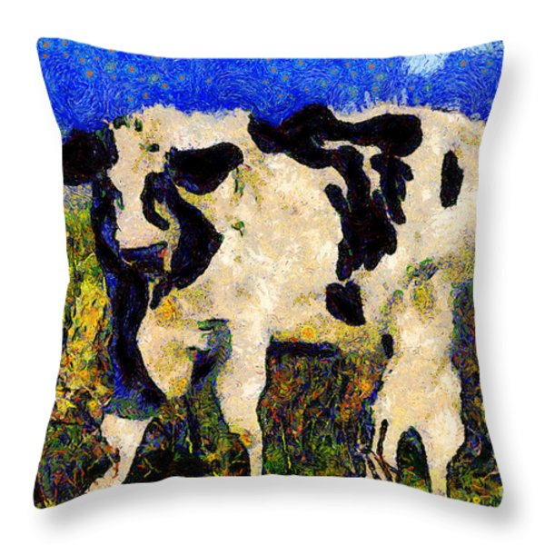 Van Gogh.s Big Bull . 7D12437 Throw Pillow by Wingsdomain Art and Photography