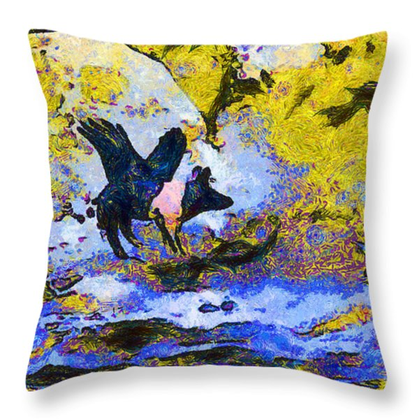 Van Gogh.s Flying Pig 3 Throw Pillow by Wingsdomain Art and Photography