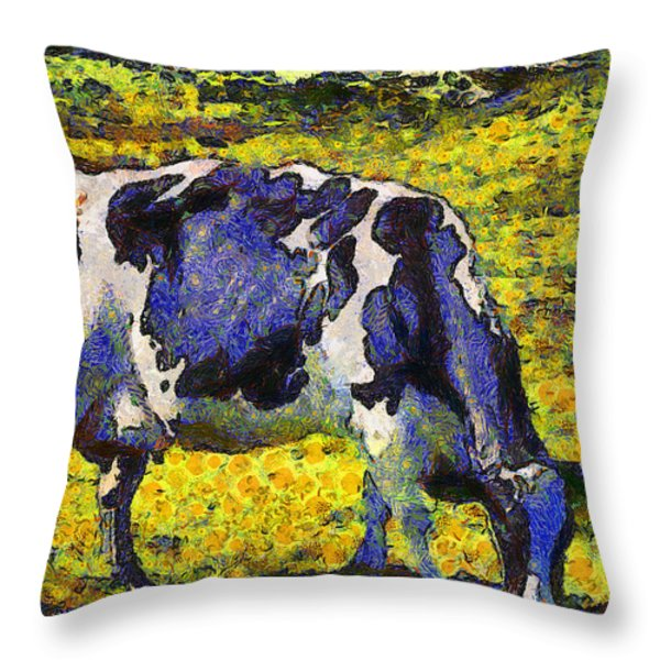 Van Gogh.s Starry Blue Cow . 7D16140 Throw Pillow by Wingsdomain Art and Photography