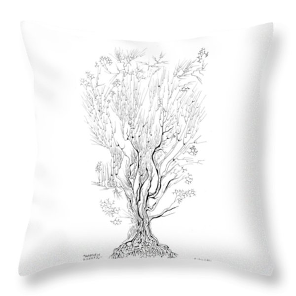 Variation On A Cayley Tree Throw Pillow by Regina Valluzzi