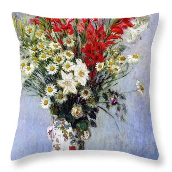 Vase Of Flowers Throw Pillow by Claude Monet
