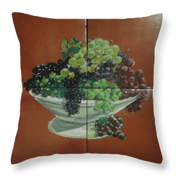 Vase With Grapes Throw Pillow by Andrew Drozdowicz