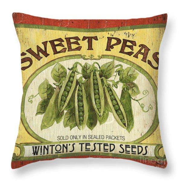 Veggie Seed Pack 1 Throw Pillow by Debbie DeWitt