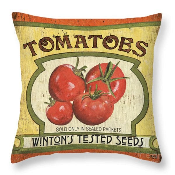 Veggie Seed Pack 3 Throw Pillow by Debbie DeWitt