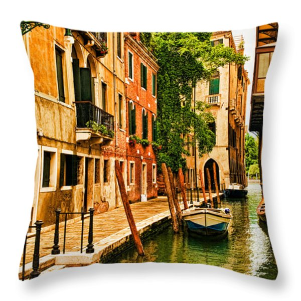 Venice Alley Throw Pillow by Mick Burkey