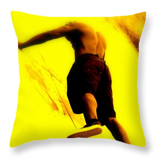 Venice Beach Muscle Builder Throw Pillow by Funkpix Photo Hunter
