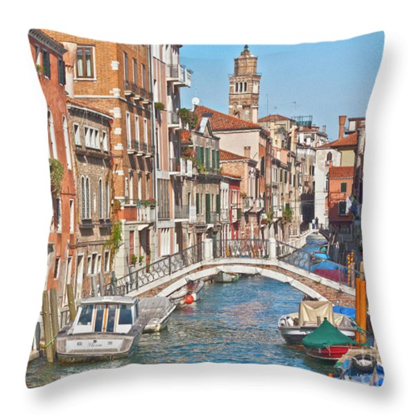 Venice Canaletto Bridging Throw Pillow by Heiko Koehrer-Wagner
