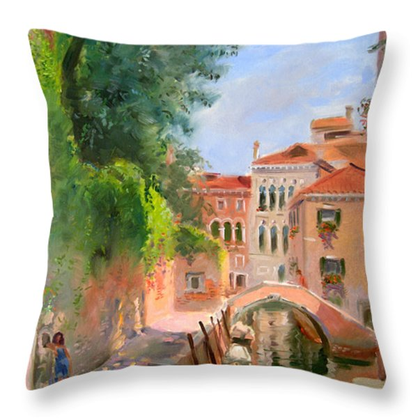 Venice Ponte Moro Throw Pillow by Ylli Haruni
