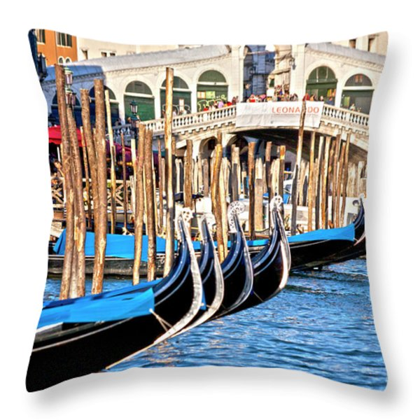Venice Sunny Rialto Bridge Throw Pillow by Heiko Koehrer-Wagner
