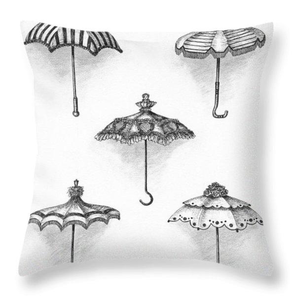 Victorian Parasols Throw Pillow by Adam Zebediah Joseph