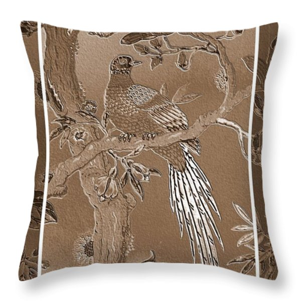 Victorian Pheasant In Sepia Throw Pillow by Carol Groenen