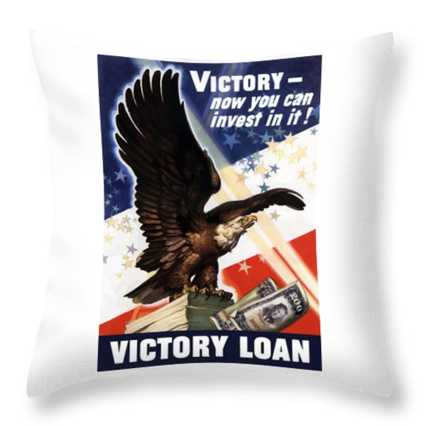 Victory Loan Bald Eagle Throw Pillow by War Is Hell Store