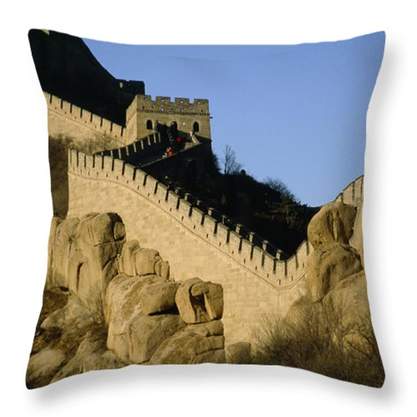 View Of A Section Of The Great Wall Throw Pillow by Michael S. Yamashita